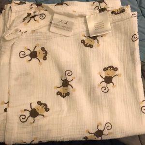 Aden & Anais monkey swaddle blanket  cotton